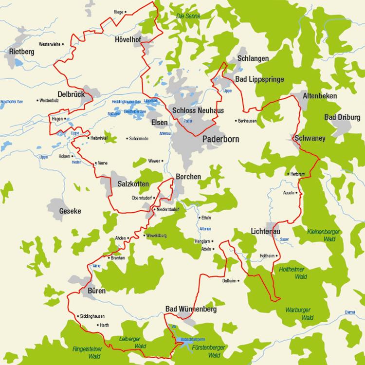 Karte Paderborn.Paderborner Land Route Städte Und Gemeinden